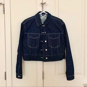 Topshop MOTO dark blue cropped denim jacket